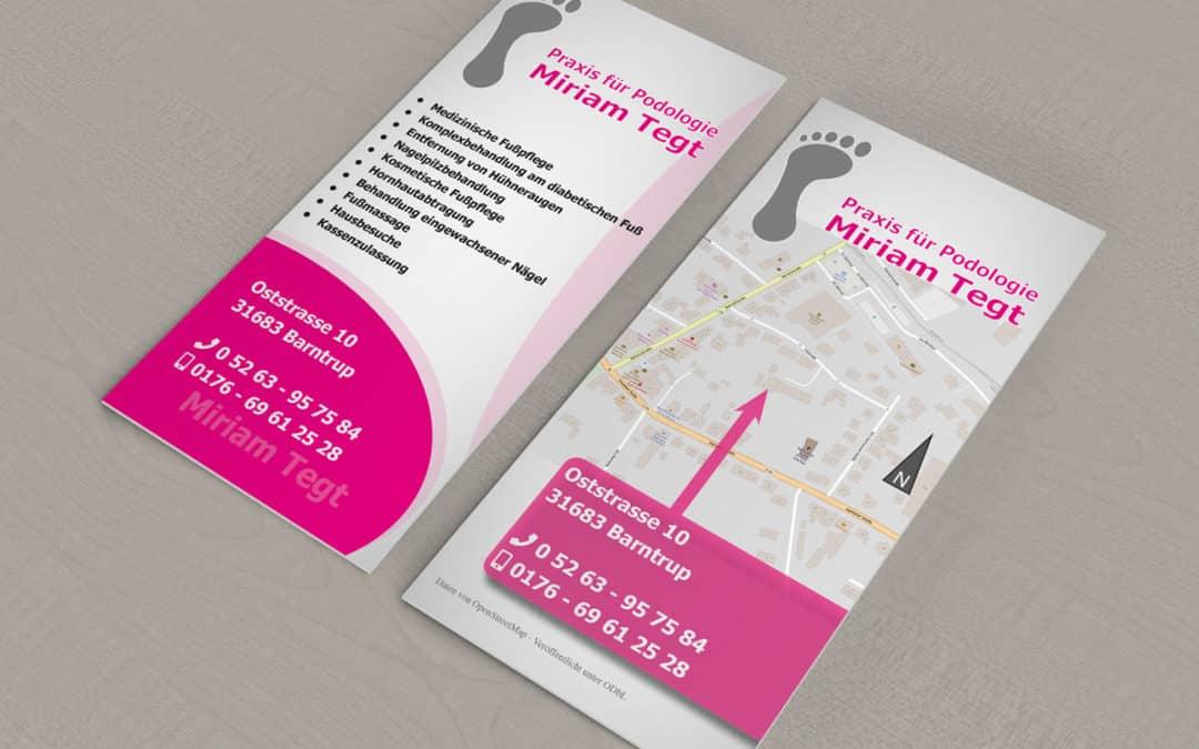 Flyer und Logo für Podologie Miriam Tegt