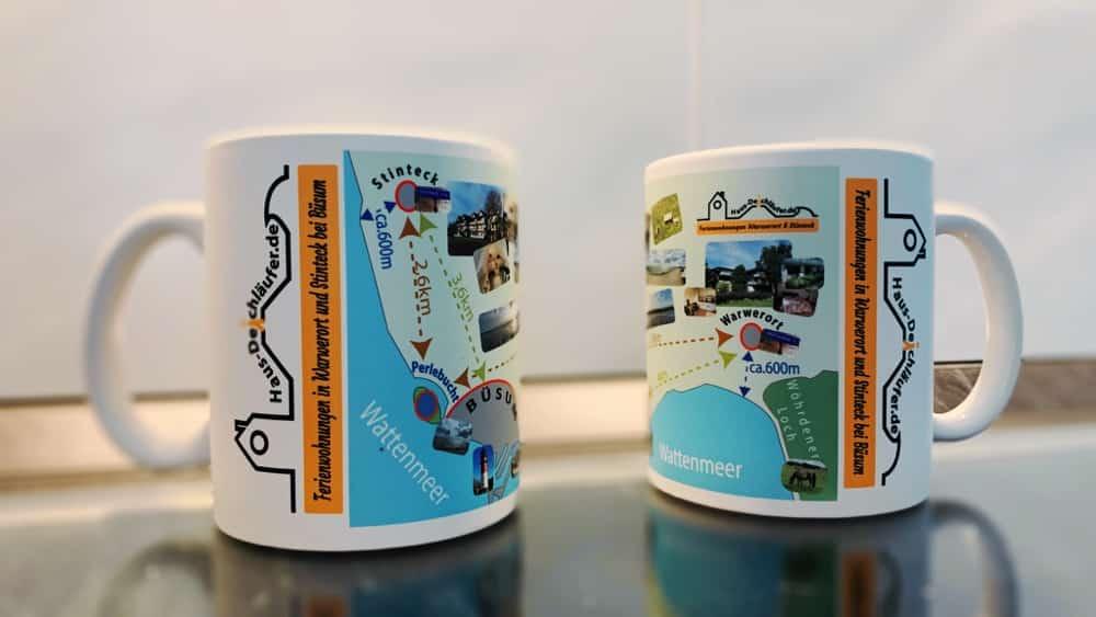Haus Deichläufer – Bedruckte Tassen für die Ferienwohnungen