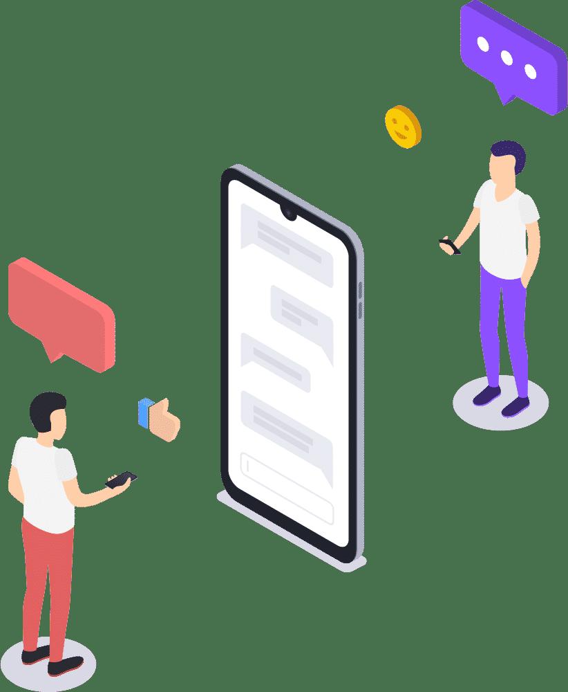 2-Personen-Grafik-Smartphone-chat