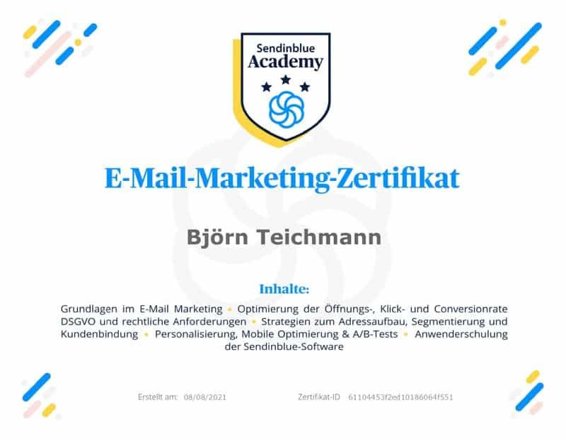 certificate-e-mail-Bjoern-Teichmann-sendinblue-800x600